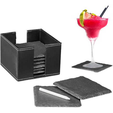 Relaxdays Slate Coaster Set of 8, Glass Pads with Box, Chalk for Labelling, Square, 10x10cm cm, Black