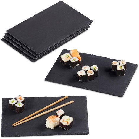 Relaxdays Slate Tile Set Of 6, Large Serving Plates Made Of Slate, For Serving & Write On, 30x20cm, Anthracite