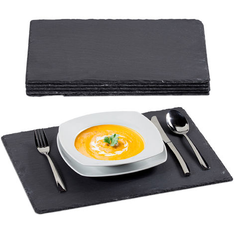 Relaxdays Slate Tile Set Of 6, Large Serving Plates Made Of Slate, For Serving & Write On, 30x40cm, Anthracite