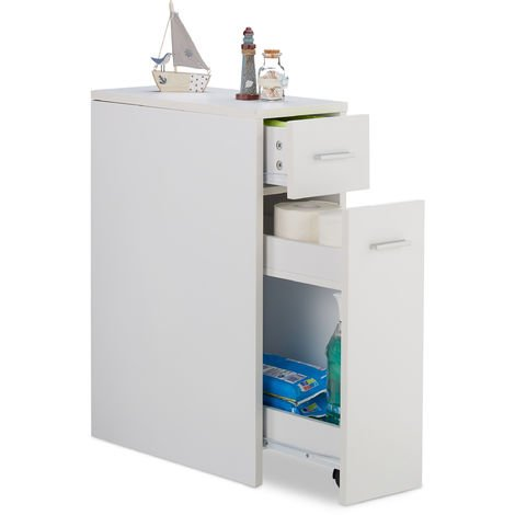 Relaxdays Slide-Out Storage Cabinet, Bathroom & Kitchen, 2 Drawers, Narrow Trolley, Space-Saver, HWD 61.5x20x45cm, White