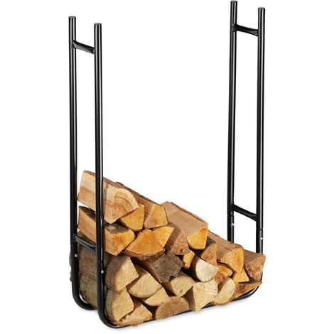 Relaxdays Slim Firewood Rack, Metal Log Holder for In- and Outdoor Use, Wood Pile Shelf HWD 90x60x20 cm, Black