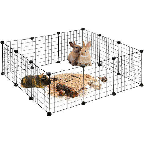 Relaxdays Small Animal Cage, Open Enclosure, DIY Enclosure, Extensible Playpen, HWD app. 37 x 110 x 110 cm, Black