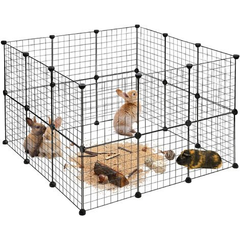 Relaxdays Small Animal Cage, Open Enclosure, DIY Enclosure, Extensible Playpen, HWD app. 72 x 110 x 110 cm, Black