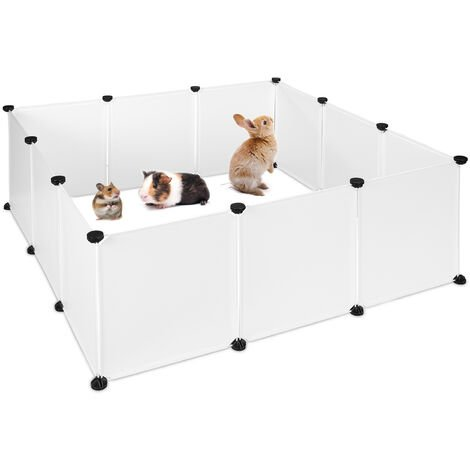 Relaxdays Small Animal Open Enclosure, DIY Enclosure, Extensible Playpen, HWD 47 x 110 x 110 cm, White