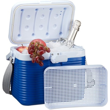 Relaxdays Small Cool Box, With Handle, Carry Strap, Plastic Cooler Bag, Non- Electric, 8L, 23.5 x 31 x 21 cm, White/Blue