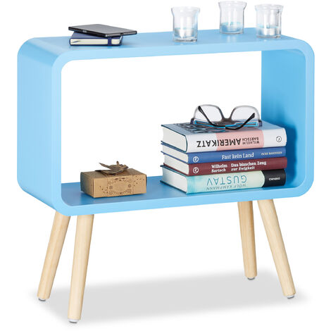 """main image of """"Relaxdays Small Freestanding Shelf HxWxD: 50x53x20 cm, Nightstand, Modern MDF Coffee Table, Side Table in Blue"""""""