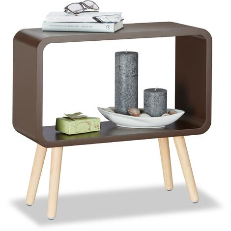 Relaxdays Small Freestanding Shelf HxWxD: 50x53x20 cm, Nightstand, Modern MDF Coffee Table, Side Table in Brown
