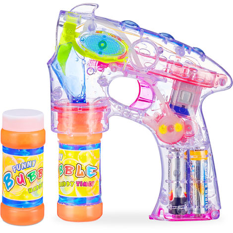 Relaxdays Soap Bubble Gun LED, Battery-operated, with 2x Soap Bubble Liquid, Adults & Children, Transparent