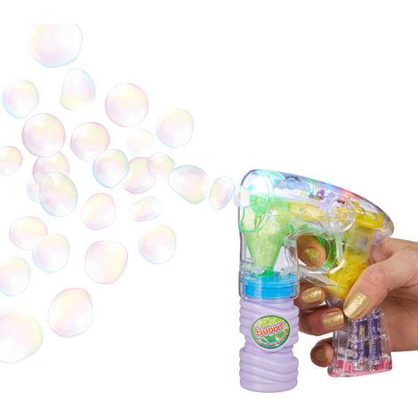 Relaxdays Soap Bubble Gun with Soap Bubble Solution, Including Batteries, LED Light, Handle, for Parties, Halloween, etc., Size: 14.5 x 11.5 x 5 cm, Transparent