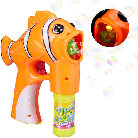 Relaxdays Soap Fish Bubble Gun LED, Battery-operated, with 1x Soap Bubble Liquid, Adults & Children, Orange