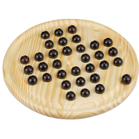 Relaxdays Solitaire Game, Round Game Board, 33 Marbles, Children & Adults, 1 Player, Wooden Game; Natural/Black