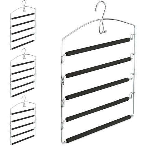 Relaxdays Space Saving Clothes Hanger, Multiple Trouser Rails, Metal, HWD: 44.5 x 37 x 2.7 cm, Silver/Black; Pack of 4