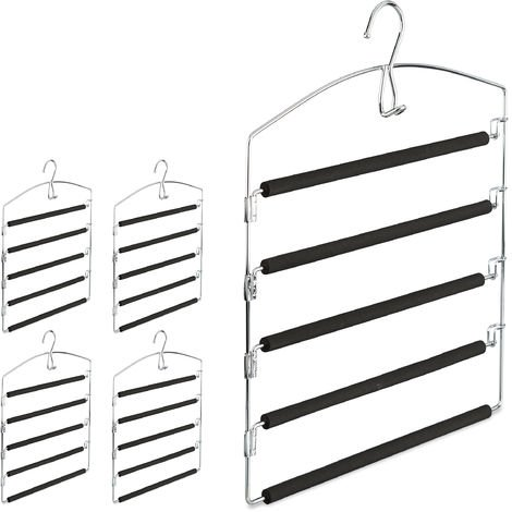 Relaxdays Space Saving Clothes Hanger, Multiple Trouser Rails, Metal, HWD: 44.5 x 37 x 2.7 cm, Silver/Black; Pack of 5