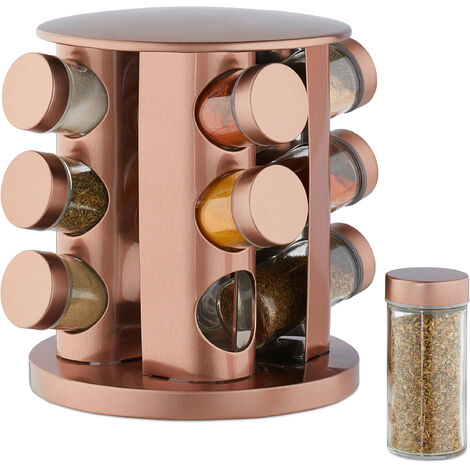 Relaxdays Spice Carousel with 12 Jars, 360° Rotation, Clear Spice Shakers, Stainless Steel, Copper