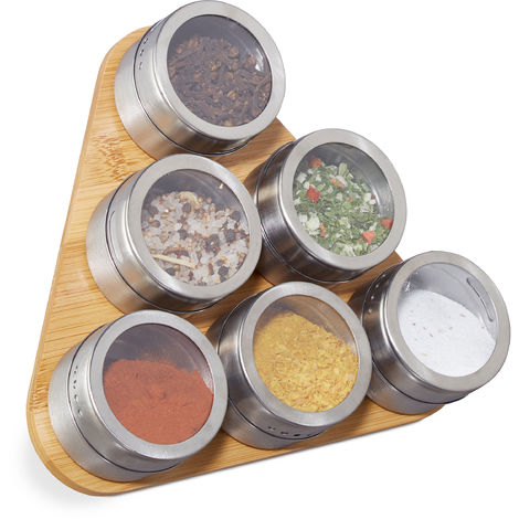 Relaxdays Spice Rack, 6 Stainless Steel Containers, Magnetic Jars, Bamboo Support, Free Standing, Natural