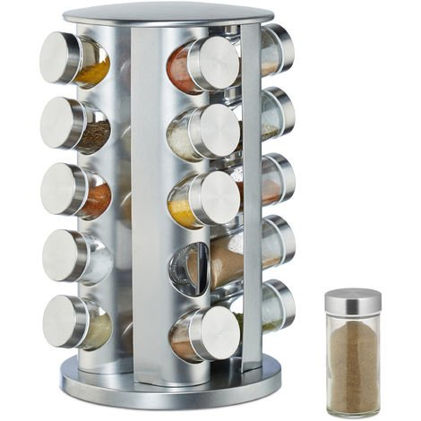 Relaxdays Spice Rack with 20 Jars, 360° Rotation, Shakers for Seasoning, 34.5 cm High, Stainless Steel, Silver