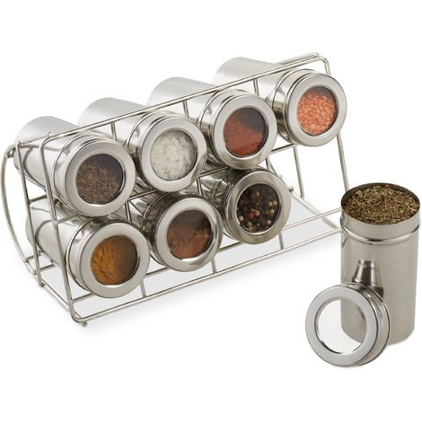 Relaxdays Spice Rack with 8 Jars, 200ml Containers for Herbs, Stainless Steel Stand HWD 10 x 22 x 14 cm, Silver