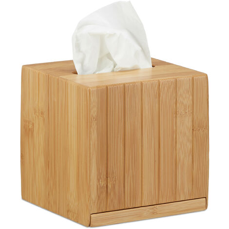 Relaxdays Square Facial Tissue Box, Wooden Bamboo Cosmetic Tissue Dispenser, Cover, HWD: 14 x 14 x 14 cm, Natural