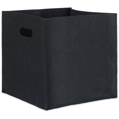 Relaxdays Square Felt Basket, HxWxD: 30 x 30 x 30 cm, Foldable, with 2 Handles, Shopping Bin, Black