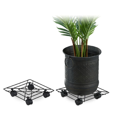 Relaxdays Square Plant Caddy Set of 2, In- and Outdoors, Brakes, Rolling Flowerpot Saucer, Metal, 28x28cm, Black
