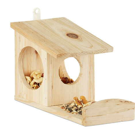 """main image of """"Relaxdays Squirrel Feeder House, Feeding Station Box, Hanging, Wooden, HWD: 17.5 x 14 x 25 cm, Natural"""""""