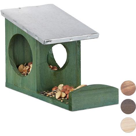 Relaxdays Squirrel Feeder, Wooden House, Weatherproof Metal Roof, Hanging, Garden Feeding Station, Dark Green