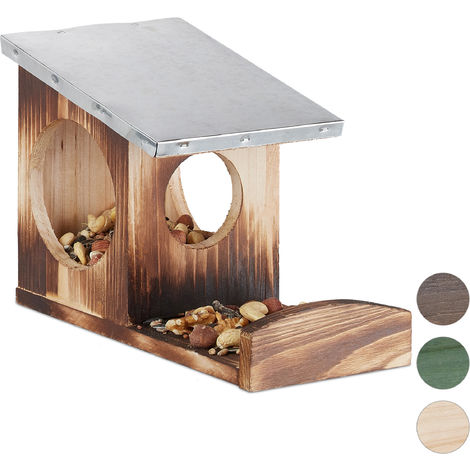 Relaxdays Squirrel Feeder, Wooden House, Weatherproof Metal Roof, Hanging, Garden Feeding Station, Flamed