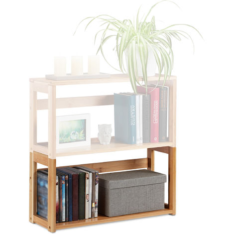 Relaxdays Stacking Shelf, Natural Bamboo, Extendable Bookcase, Living Room & Bedroom, HWD 30x60x20 cm, DIY, Natural