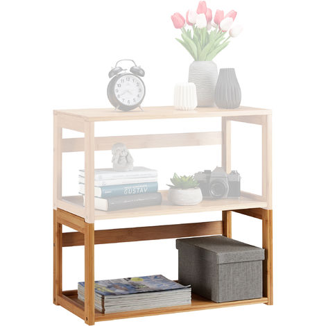 Relaxdays Stacking Shelf, Natural Bamboo, Extendable Bookcase, Living Room & Bedroom, Standing, HWD 30x60x30.5cm Natural