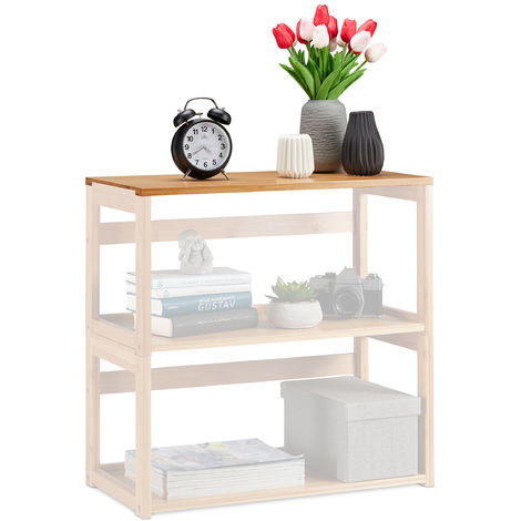 Relaxdays Stacking Shelf, Natural Bamboo, Extendable Bookcase, Living Room & Bedroom, Standing, WxD 60x30.5 cm, Natural