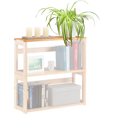 Relaxdays Stacking Shelf, Natural Bamboo, Extendable Bookcase, Living Room & Bedroom, WxD 60x20 cm, DIY, Natural