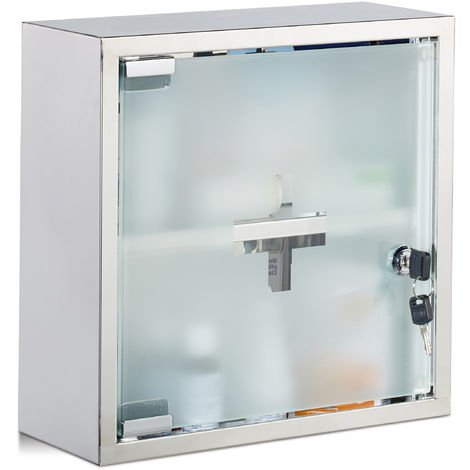 Relaxdays Stainless Steel Cabinet, Square, 2 Compartments, Lockable, Home Pharmacy, Shiny, HWD 30x30x12 cm, Silver