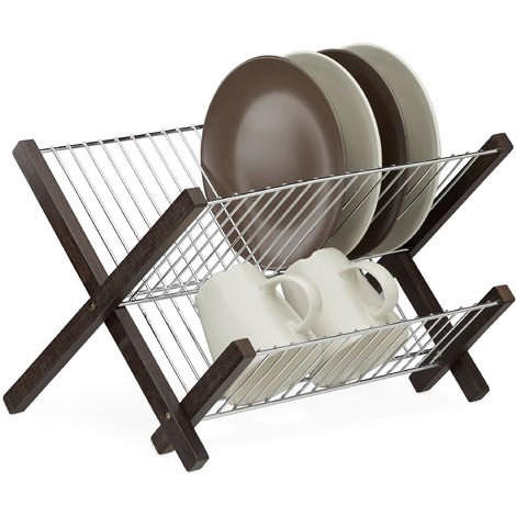 Relaxdays Stainless Steel Dish Drying Rack, 2 Tiers, Foldable, Compact Drainer, HWD: 25.5 x 39 x 30 cm, Dark Brown