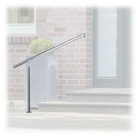 Relaxdays Stainless Steel Handrail for In- and Outdoor Use, 150 x 80 cm, With Wall Fittings and Metal Plugs, Silver