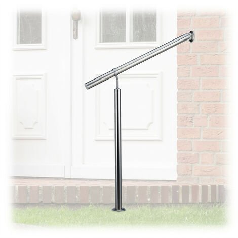 Relaxdays Stainless Steel Handrail for In- and Outdoor Use, 80 x 90 cm, With Wall Fittings and Metal Plugs, Silver