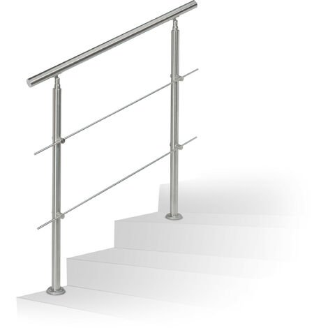 Relaxdays Stainless Steel Handrail Set, for Indoors and Outdoors, Bannister, 1.0 m Long, 2 Posts, 2 Crossbars, Silver