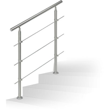 Relaxdays Stainless Steel Handrail Set, for Indoors and Outdoors, Bannister, 1.0 m Long, 2 Posts, 3 Crossbars, Silver