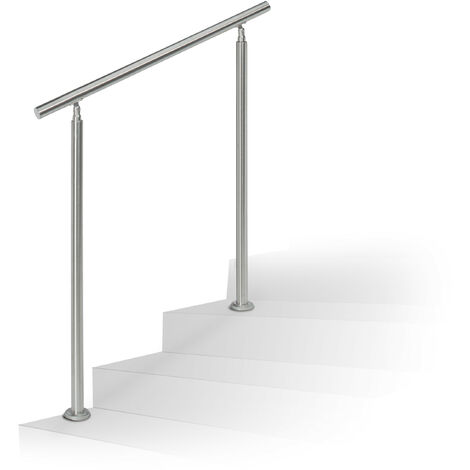 Relaxdays Stainless Steel Handrail Set, for Indoors and Outdoors, Bannister, 1.0 m Long, 2 Posts, No Crossbars, Silver