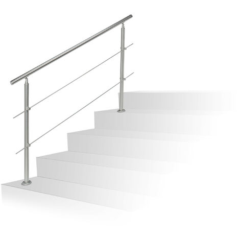 Relaxdays Stainless Steel Handrail Set, for Indoors and Outdoors, Bannister, 1.5 m Long, 2 Posts, 2 Crossbars, Silver