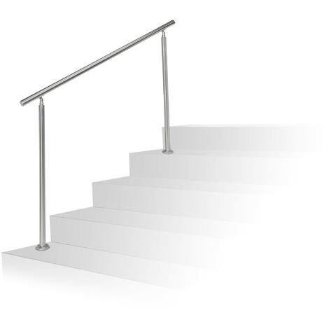Relaxdays Stainless Steel Handrail Set, for Indoors and Outdoors, Bannister, 1.5 m Long, 2 Posts, No Crossbars, Silver