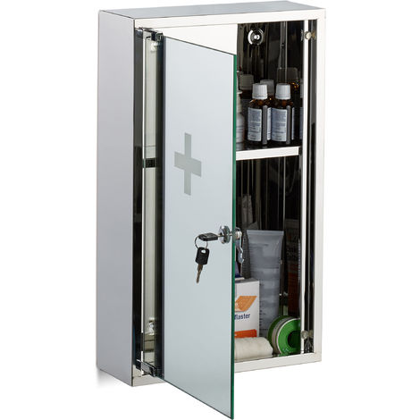 Relaxdays Stainless Steel Medicine Cabinet, Lockable Mirror Door, 2 Compartments, Home Pharmacy, HWD: 50 x 30 x 11 cm, Silver