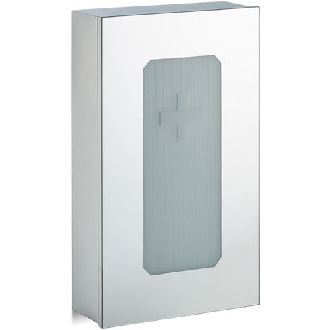 Relaxdays Stainless Steel Medicine Cabinet, Mirror Door, 2 Compartments, First Aid, Home Pharmacy, HWD: 54x32x12cm, Silver