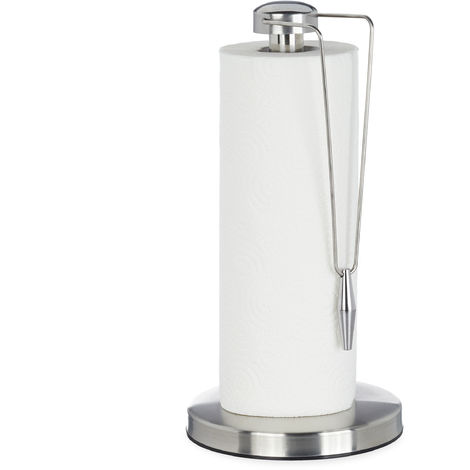 Relaxdays Stainless Steel Paper Towel Holder, Designer Paper Roll Stand, Kitchen Accessory, HxD: 32 x 16 cm, Silver