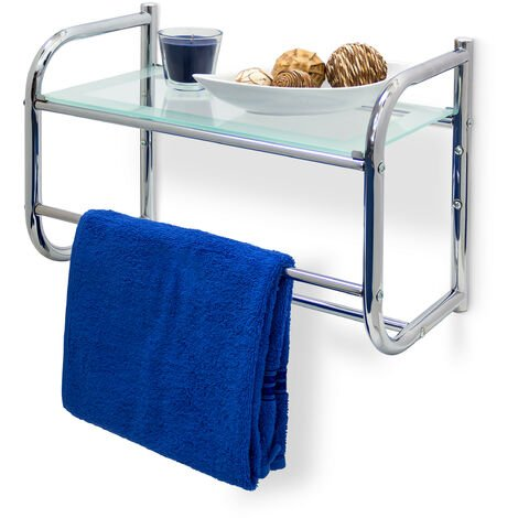 Relaxdays Stainless Steel Wall Shelf with Towel Rail and Glass Shelf (34x 45x 23cm) Bathroom Shelf with 2Towel Rails Modern Style Glass & Chrome Finish Base, Silver