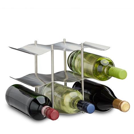 Relaxdays Stainless Steel Wine Rack for 9 Bottles, Modern Metal Design, Standing Bottle Holder, HxWxD: 22 x 27 x 16.5 cm, Silver