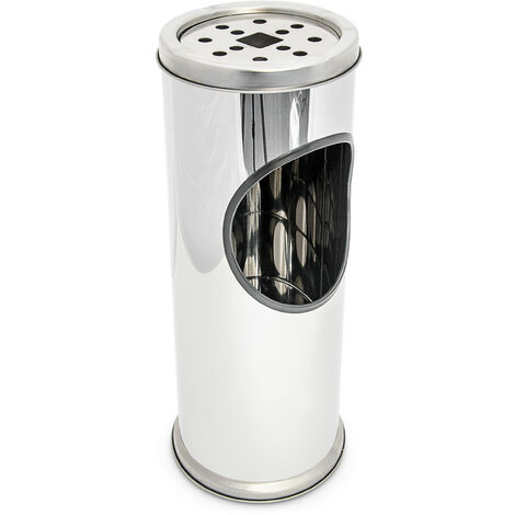 Relaxdays Standing Ashtray Stainless Steel Metal Ash Tray with Bin Container Trash Garbage Rubbish 37 cm Tall