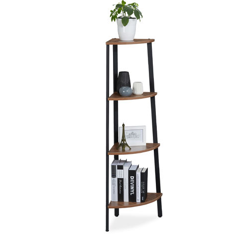 Relaxdays Standing Corner Shelf, Kitchen, Hallway, Living Room, Vintage Design, Bookcase: 125x 48x 32 cm, Brown/Black