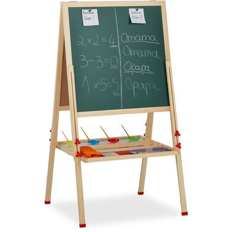 Relaxdays Standing Kids' Blackboard, Height-Adjustable & Magnetic, Wooden, Whiteboard & Chalkboard, 122-160 x 65 x 69 cm
