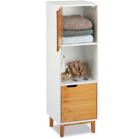 Relaxdays Standing Shelf, Scandinavian Bookcase with Door, MDF and Bamboo Side Cabinet, HWD 101x32x30 cm, White