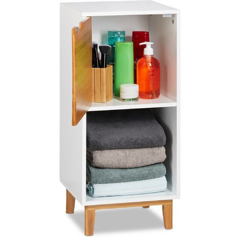 Relaxdays Standing Shelf, Scandinavian Bookcase with Door, MDF and Bamboo Side Cabinet, HWD 71x32x30 cm, White